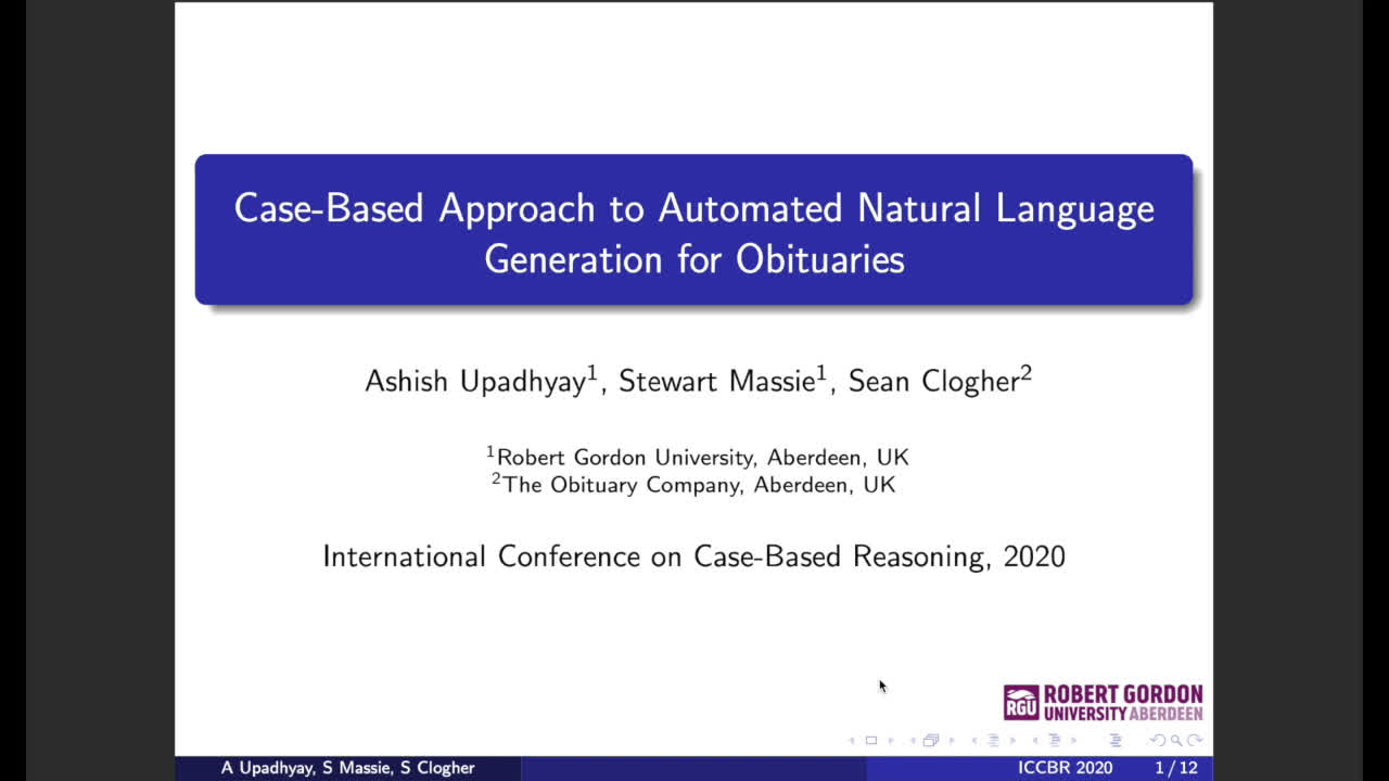 "Paper 71: ""Case-Based Approach to Automated Natural Language"