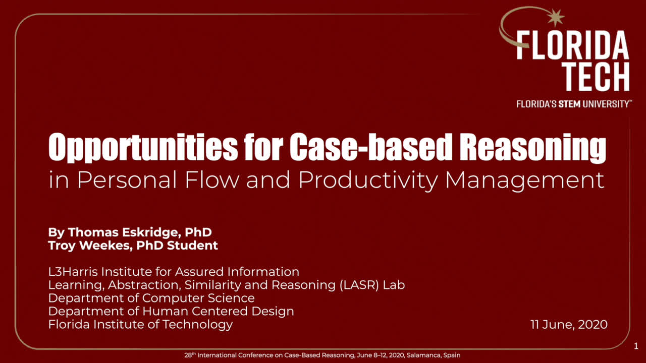 "Paper 91: "" Opportunities for Case-based Reasoning in Personal Flow and"
